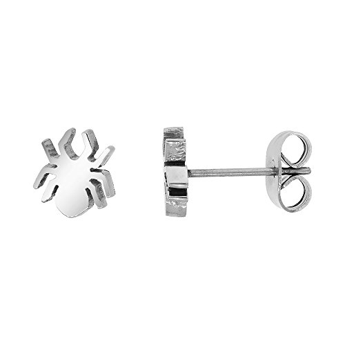 Small Stainless Steel Spider Stud Earrings 3/8 inch