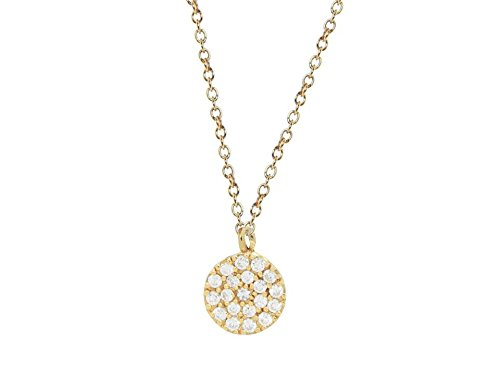 Mini Sparkling Pave Cz Disc Necklace in Sterling Silver dipped in Gold, 16