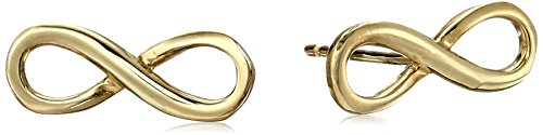 14k Yellow Gold Italian Infinity Stud Earrings (Italian Stud Gold)