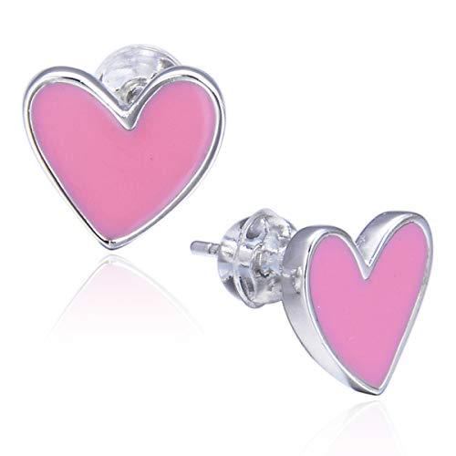 Sterling Silver Pink Heart Stud Earrings Gurtogg Kids Love Ear Studs