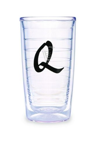 (Tervis Tumbler Black Laser Twill Initial - Q 16-Ounce Double Wall Insulated Tumbler Set of 4)