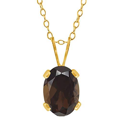 Gem Stone King 0.75 Ct Oval Shape Brown Smoky Quartz Yellow Gold Plated Brass Pendant ()