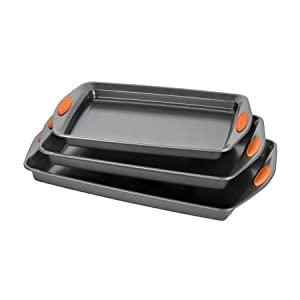 Rachael Ray Yum-o! Nonstick Bakeware 3-Piece Oven Lovin' Cookie Pan Set, Gray with Orange Silicone Grips