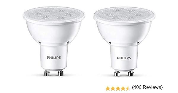 Philips Lighting Foco LED de luz cálida, 3,5 W/35 W, casquillo GU10, 35 W, Blanco, Pack de 2: Amazon.es: Iluminación