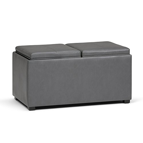 Simpli Home AY-F-15B-G Avalon 35 inch Contemporary  Storage Ottoman in Stone Grey Faux Leather