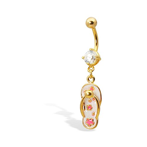 (MsPiercing Gold Tone Belly Button Ring With Dangling Flip-Flop)