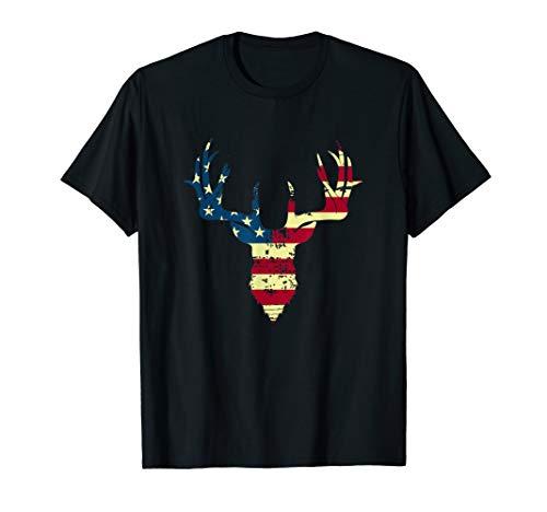 USA American Flag Whitetail Deer Buck Antler Silhouette  T-Shirt (Deer Silhouette Antlers)