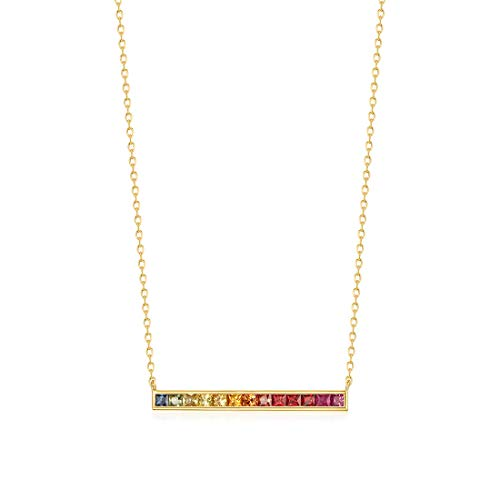 (Carleen 18K Solid Yellow Gold Genuine Natural Multi Colored Sapphire Bar Pendant Necklace for Women Girls Women, 16
