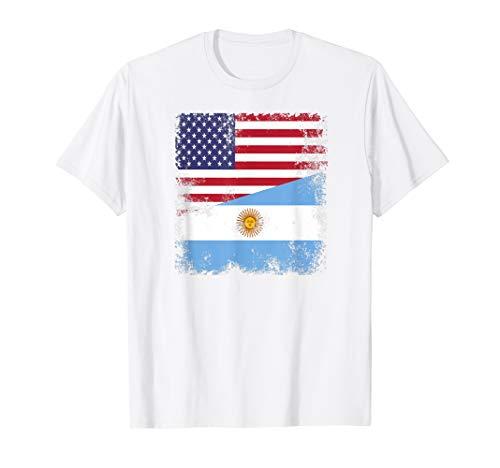 Half Argentinian Flag T-Shirt | Vintage Argentina USA Gift