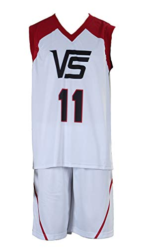 CHIUS Cosplay Costume Jersey Set for Last Game No. 11 Kuroko Tetsuya White, Red, Black -