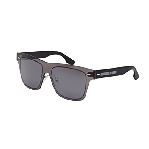 McQueen MQ 0008S 001 Square Sunglasses Grey Black/Silver Mirror - Men Alexander Sunglasses Mcqueen