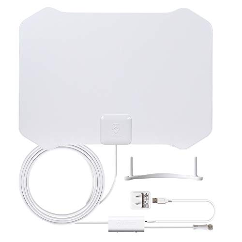 ANTOP HDTV Antenna Indoor, Paper Thin Amplified TV Antenna 360° Omni-Directional Reception with Built-in 4G LTE Filter,Support 4K 1080p Channels & All Older TV's for Outdoor,10ft Cable - 4K UHD Ready