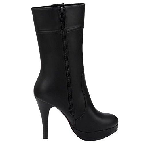 AIYOUMEI Damen Herbst Winter Stiletto Halbschaft Stiefel mit Plateau High Heels Mid Calf Boots Schwarz