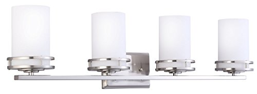 CloudyBay Lighting CloudyBay CB17006-BN Bathroom Vanity Light Fixture,4-Bulb Wall Sconce with Opal Glass Shade,UL Listed,Brushed Nickel Finish price tips cheap