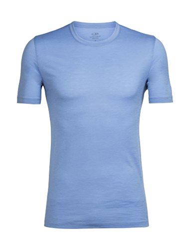Icebreaker Merino Men's Tech Lite Short Sleeve Crewe Athletic T Shirts, Chalk Blue, (Short Sleeve Zip Tech Tee)