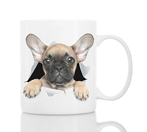 - Funny French Bulldog Mug - Ceramic Funny Coffee Mug - Perfect Dog Lover Gift - Cute Novelty Coffee Mug Present - Great Birthday or Christmas Surprise for Friend or Coworker, Men and Women (11oz)