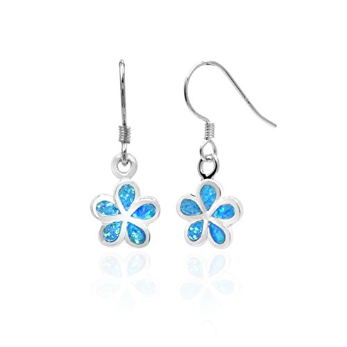 Sterling Silver Plumeria Flower Hook Earrings with Simulated Blue Opal (7 Millimeters)