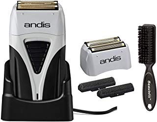 Andis ProFoil Lithium Plus Titanium Foil Shaver with Bonus Replacement Foil Assembly and Inner Cutters and a BeauWis Blade Brush