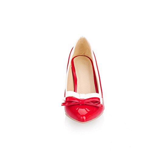 Rojo para patentada tacón con lazo Odetina Zapatos mujer piel de FOSgw4fqx7