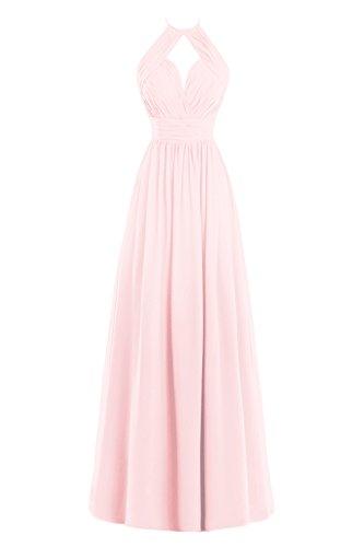 Bess Bridal Women's A Line Halter Pleats Long Chiffon Bridesmaid Dress Blushing Pink