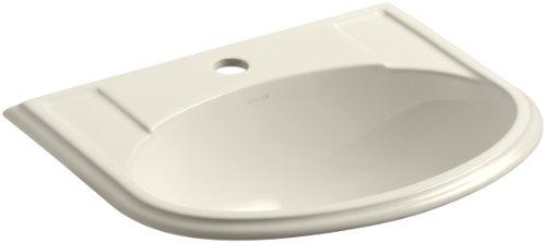 KOHLER K-2279-1-47 Devonshire Self-Rimming Bathroom Sink with Single-Hole Faucet Drilling, Almond -