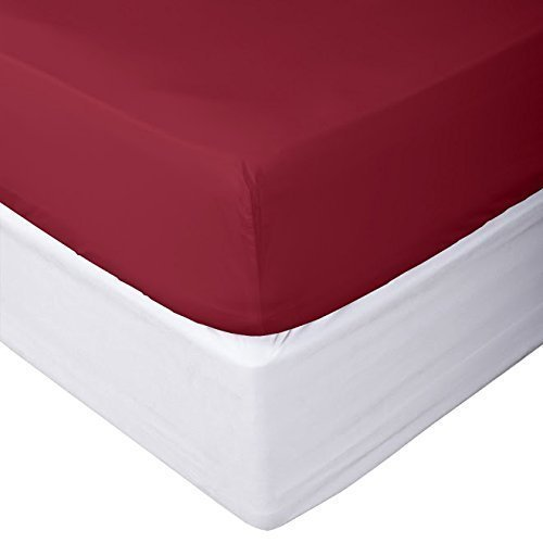 Solid Burgundy King Size 1 Piece Fitted Sheet (Bottom Sheet Only) 700 Thread Count 100% Egyptian Cotton 15 Inch Deep Pocket by Prince Bedding
