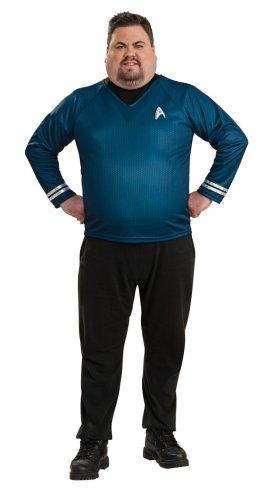 Men's Plus Size Star Trek Blue Shirt Costume (Size: X-Large 44-46) ()