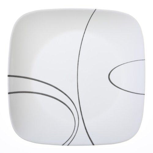 Black Line Glass - Corelle Square Simple Lines 10-1/2-Inch Plate Set (6-Piece)