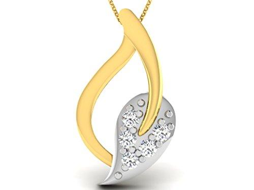 Or Jaune 14 ct Pendentifs Diamant en forme de Feuille, 0.08 Ct Diamant, GH-SI, 0.52 grammes.