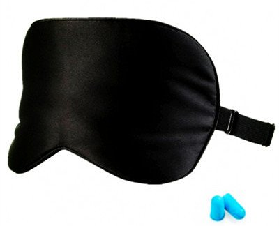 Silk Sleep Mask with Adjustable Elastic strap for Bedtime and Travel, Black