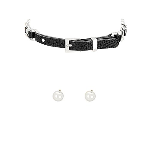 Biker Chick Costume For Girls (Rosemarie Collections Women's Vegan Leather Metal Buckle Choker Necklace Earring Set)