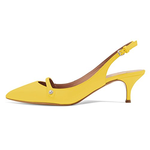 XYD Women Pointed Toe Mid Kitten Heel Slingback Sandal Pumps Slip On Patent Satin Dress Shoes Size 8 Yellow-PU