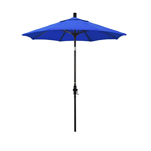 California Umbrella Round Aluminum Pole Fiberglass Rib Market Umbrella, Crank Lift, Collar Tilt ()