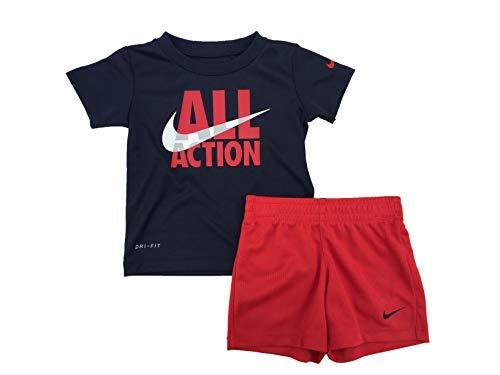 Nike Boy`s Dri-Fit T-Shirt & Shorts 2 Piece Set (University Red(66F028-U10)/Black, 6) ()