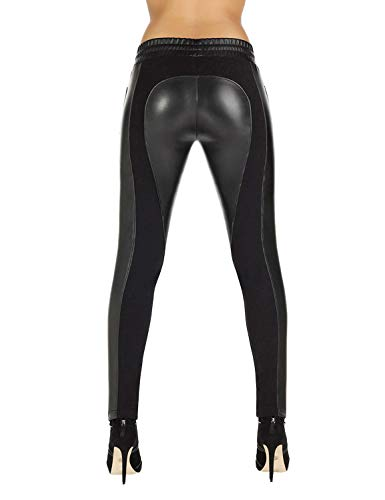 Bleu Leggings Federica Women's Black Faux Leather Bas gqPdxg