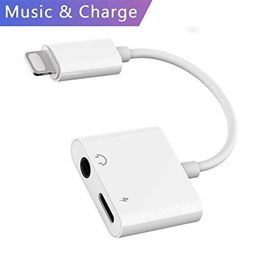 MOYAGOA lightning adapter compatible with iPhone 7/8/x/xs max r Headphone Jack 3.5mm for iphone dongle Headphone Audio Adapter (white)