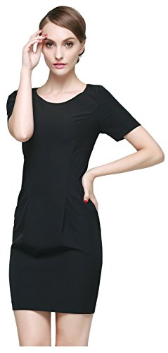 Women's line Orolay Casual Dress Party Black A Work Chiffon qz6Uzd