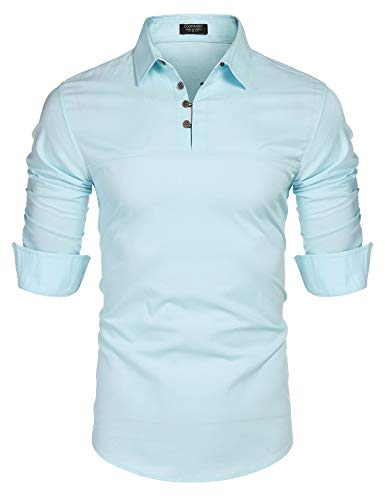 COOFANDY Men's Han Solo Shirt Henley Dress Shirt Cotton Linen Henley Polo Blue