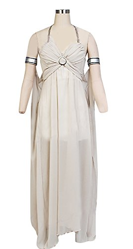 Mother of Dragons Costume Women Off-White, Deluxe Halloween Queen Cosplay Dress (X-Large)