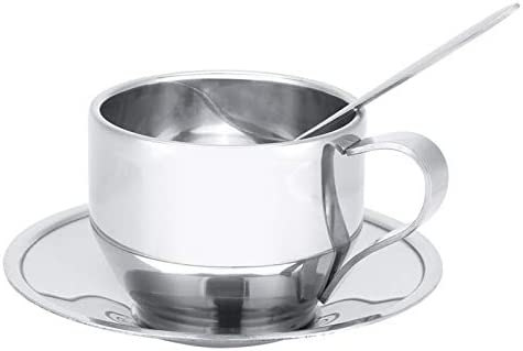 YUMILI KoffiekopjeRVS gesoleerde koffiekopje dubbele muur thee melk mok met schotel lepel set servies