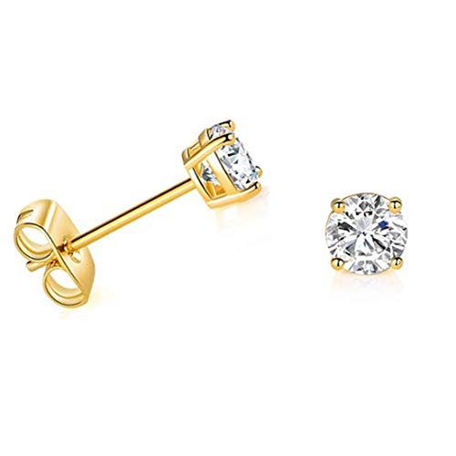 Solid 14k Yellow Gold Solitaire Round Cubic Zirconia CZ Stud Earrings with 14k Gold Butterfly Push Backings (4mm)