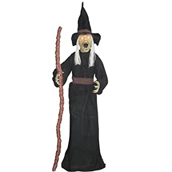 5 ft Standing Witch Light Up Eyes Sound Halloween Decor