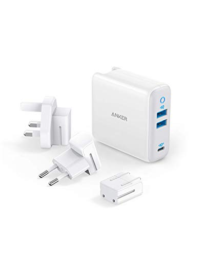 USB C Charger, Anker 65W PIQ 3.0&GaN Type-C Charger with a 45W PD Port, PowerPort III 3-Port 65W Charger with US/UK/EU Plugs for Travel, for MacBook, USB-C Laptops, iPad Pro, iPhone, Galaxy and More