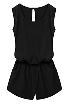 ACEVOG Women Crewneck Elastic Waist Cut Out Back Pocket Romper Jumpsuit Playsuit