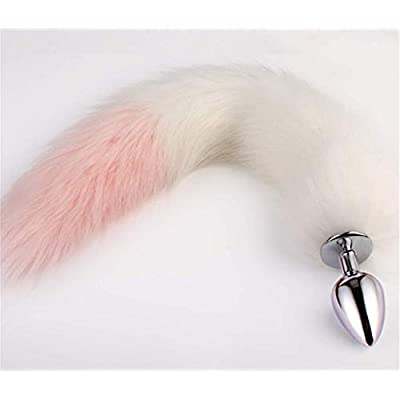 Pink & White Three Sizes Fluffy Faux Fox Tail & Cat Ears Headband Charms Role Play Costume Party Masquerade Cosplay Prop (Pink & White #2, S): Toys & Games