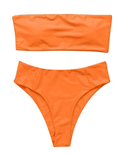 OMKAGI Women's 2 Pieces Bandeau Bikini Swimsuits Off Shoulder High Waist Bathing Suit High Cut(S,Orange) ()
