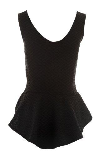 FANTASIA BOUTIQUE Damas V Delantera Trasera de canalé Volante Holgado Corto Largo Peplo Mujer corto Camiseta 8-14 Negro