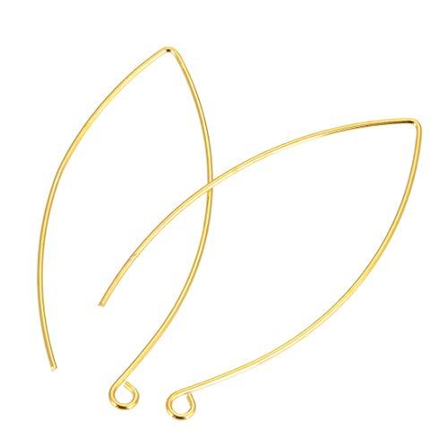 Long Bead Earrings Wire - 100pcs Hypoallergenic Long Ear Wire Earring Hooks 45mm Dangle Gold Plated Brass Earwire Connectors (wire ~0.7mm) CF247-G