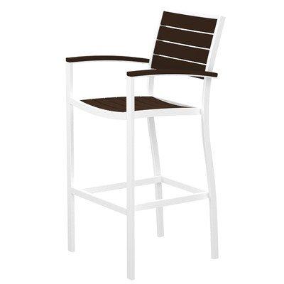 Arm Euro Bar Stool - Euro Bar Arm Chair Finish: Textured White, Seat and Back Finish: Mahogany