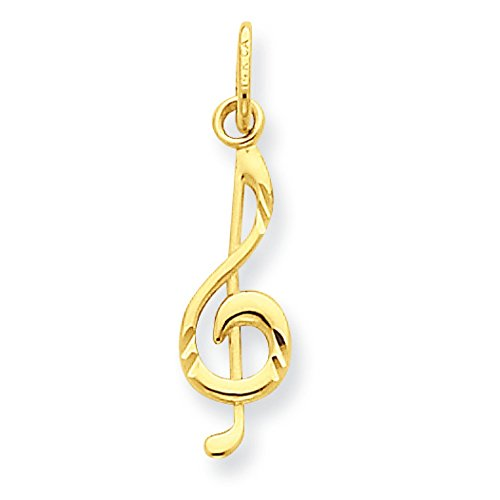 Pendants Arts and Theater Charms 14K Yellow Gold Music Note Charm Pendant